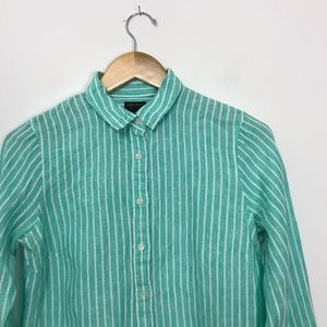 J. Crew Tops - J.Crew Slim perfect shirt striped Irish linen B3